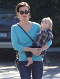 January Jones debuted newly-brunette hair as she and her little son Xander went for lunch in LA on November 19.