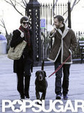 Anne Hathaway and Adam Shulman walked their dog in NYC together.