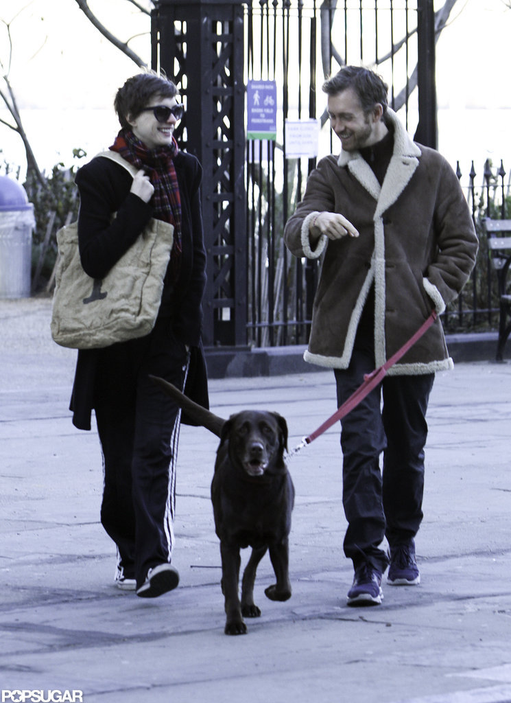 Anne Hathaway and Adam Shulman hung close to home with their dog.