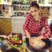 Jessica Alba prepped the turkey. 