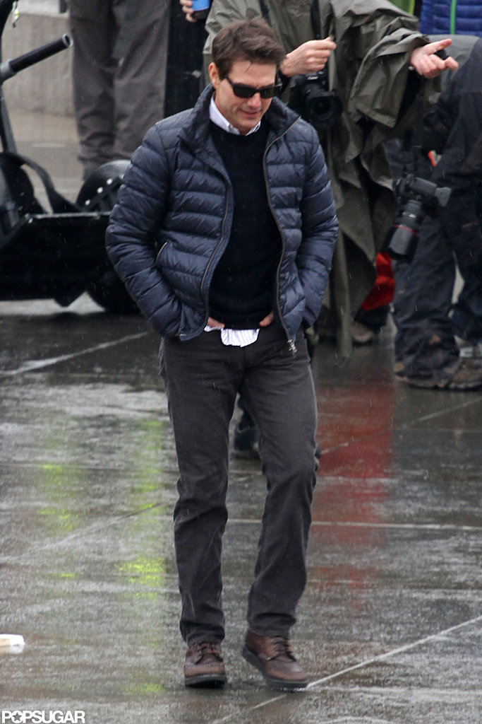 Tom Cruise walked onto his London set.