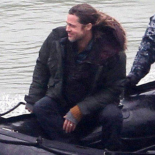Brad Pitt on the Beach Shooting World War Z