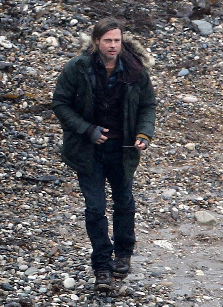 Brad Pitt went to work on World War Z near the beach on the South Coast of England in November.