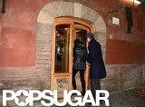 Ashton Kutcher and Mila Kunis went to a restaurant in Rome.