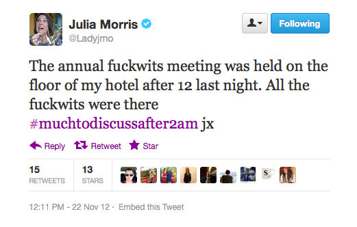 Don't mess with Julia Morris when she's trying to sleep.