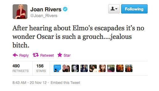 Joan Rivers weighs in (hilariously) on the Elmo puppeteer scandal.
