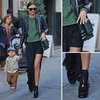 Miranda Kerr Green &amp; Black Street Style Outfit Inspiration