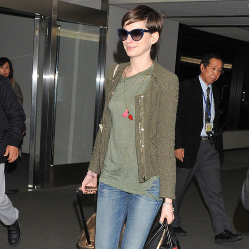 Anne Hathaway Wearing Olive Jacket