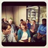 The Dunder Mifflin employees gathered 'round for a meeting. Source: Instagram user angelakinsey