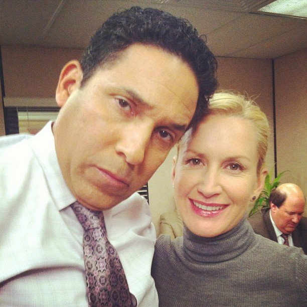 Angela Kinsey and Oscar Nuñez started to get fatigued after three and a half hours shooting a conference room scene. Source: Instagram user angelakinsey