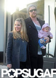 Chris Hemsworth carried his daughter, India, during a walk with Elsa Pataky.