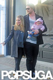 Elsa Pataky and Chris Hemsworth hit the streets of London with India.