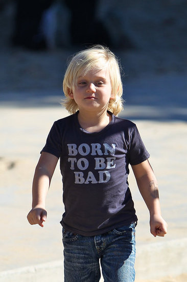 "Zuma Rossdale sported a shirt that read ""Born to be Bad"" at the park."
