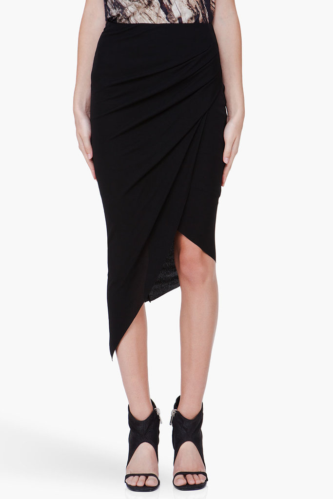 Every girl needs a Helmut Lang skirt in her closet, and this Helmut Lang asymmetrical maxi skirt ($295) is perfect because it shows off just enough leg and the stretchy fabric makes it super comfy.