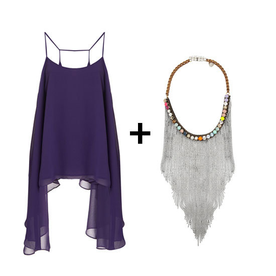 For the ultimate bohemian girl, style an ethereal, billowy top with a silver fringed necklace. Shop the look:  Topshop drape hem cami ($76) Shourouk Dallas silver-plated Swarovski crystal bib necklace ($655)