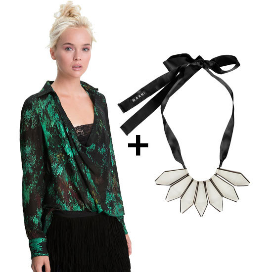 Party downtown? Pair this gorgeous emerald-green top with a stunning white resin necklace for maximum impact. Shop the look:  Haute Hippie Everything Gone Green blouse ($325) Marni horn and ribbon necklace ($495)