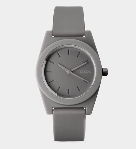 Nothing says business like a watch; this Alexandre Dubreuil and Ludovic Roth Spring watch ($65) features clean lines and a smooth, dove-gray hue.