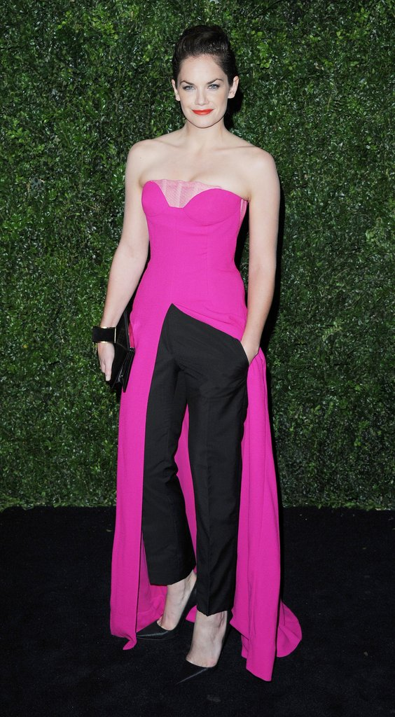 Ruth Wilson showed off her sartorial style in a (Raf Simons-designed) Christian Dior look comprised of a hot-pink slit gown paired with black trousers.