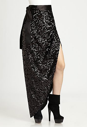 Doesn't this Rachel Zoe sequined asymmetrical skirt ($425) scream holiday? Dress it down with a simple white tee for a fun fashion juxtaposition.