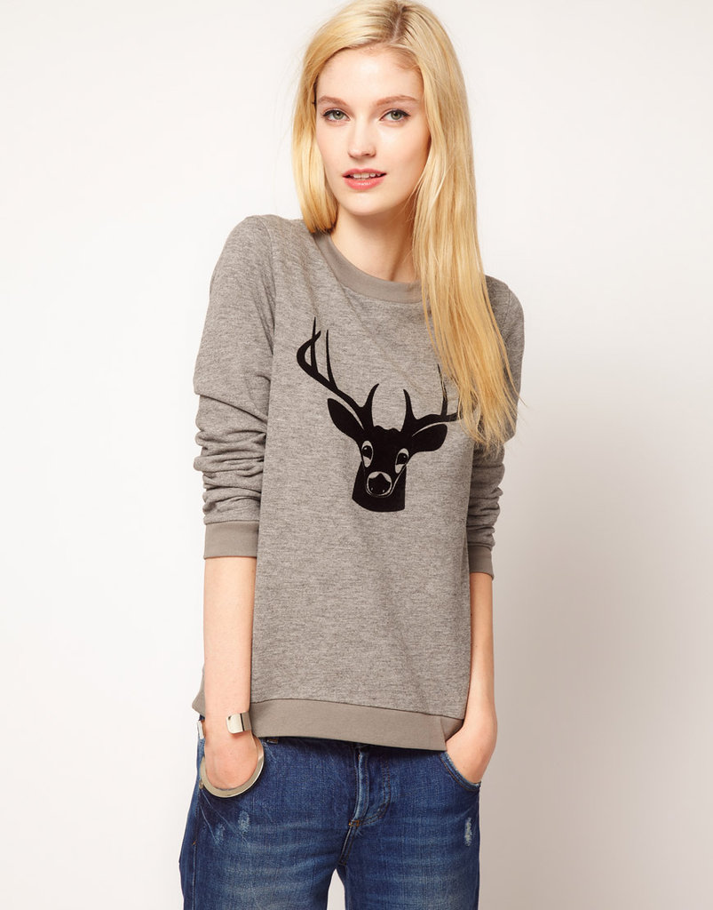 Jaeger's Deer Print Sweater ($103) is easy-peasy to wear and perfect for a low-key party look.