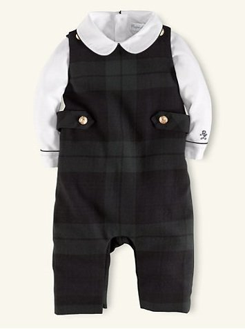 Ralph Lauren Blackwatch Plaid Overall Set