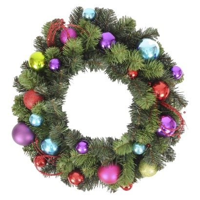 Hang this multi-colored Ornament Wreath ($25) inside or outside for a festive wintry touch.