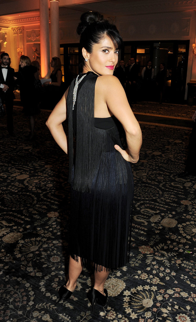 Salma Hayek wore a black dress to the British Fashion Awards in London.