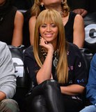 Beyonce Knowles showed off her bangs at a basketball game in NYC.