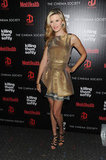 Maggie Grace wore a gold dress to the NYC screening of Killing Them Softly.
