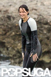 Jennifer Lawrence swam in the water in a wet suit.