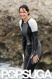 Jennifer Lawrence swam in the water in a wet suit.