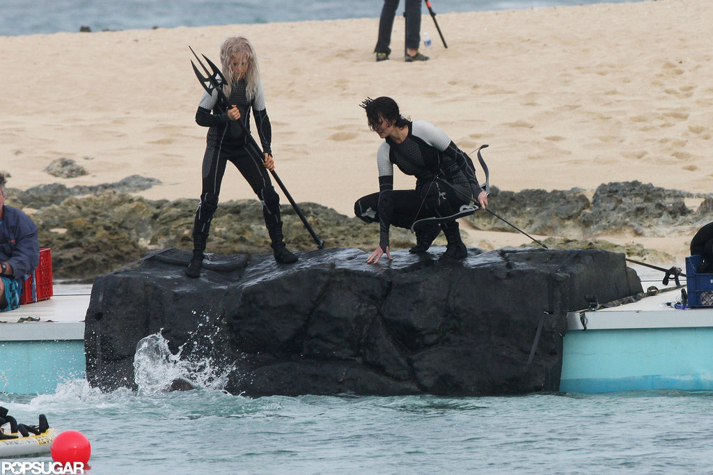 Jennifer Lawrence stood on a rock for Catching Fire.