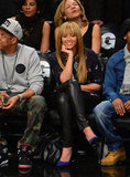 Beyonce Knowles showed off her bangs at the Knicks game in NYC.