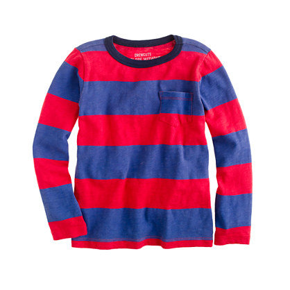J.Crew Boys' Long-Sleeved Ringer Tee in Wide Stripe
