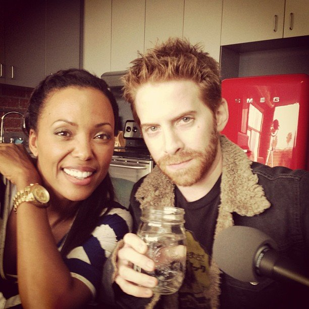Seth Green joined Aisha Tyler for her podcast, Girl on Guy. Source: Instagram user aishatyler