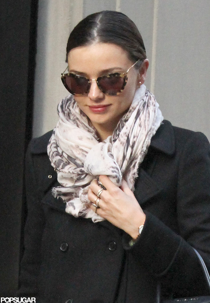 Miranda Kerr wore sunglasses.