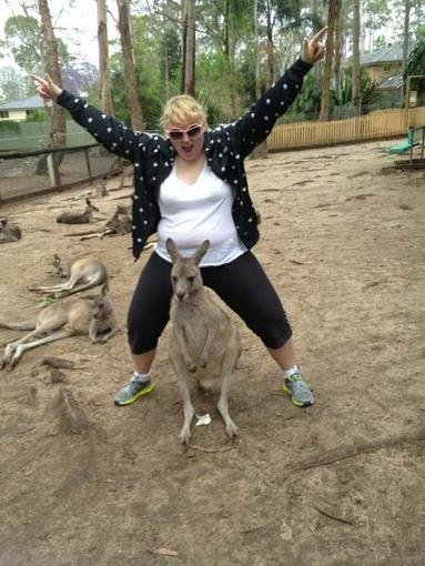 Rebel Wilson clowned around with kangaroos. Source: Twitter user RebelWilson