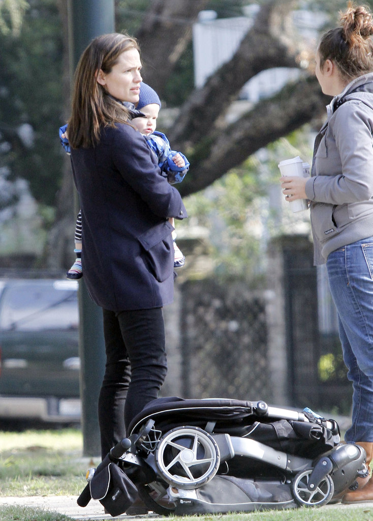 Jennifer Garner held Samuel Affleck in New Orleans.