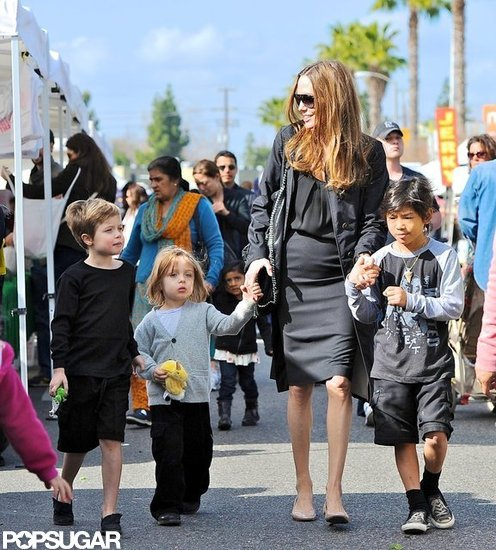 Angelina Jolie brought Shiloh, Pax, and Knox Jolie-Pitt to a farmers market in LA in January.