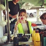 Alessandra Ambrosio got her hair and makeup done. Source: Twitter user AngelAlessandra