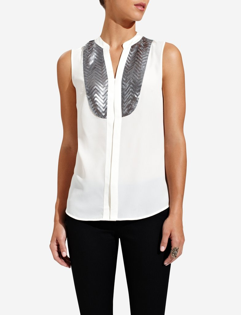 This sequined tuxedo blouse from The Limited ($35, originally $50) would look amazing with a pair of black trousers and a crisp blazer.