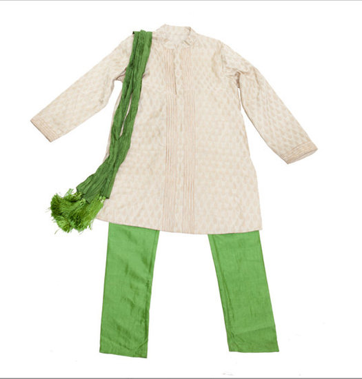 Rayil's Navya boy's set ($170) includes a Benarasi silk top and pants and a matching fringe stole.