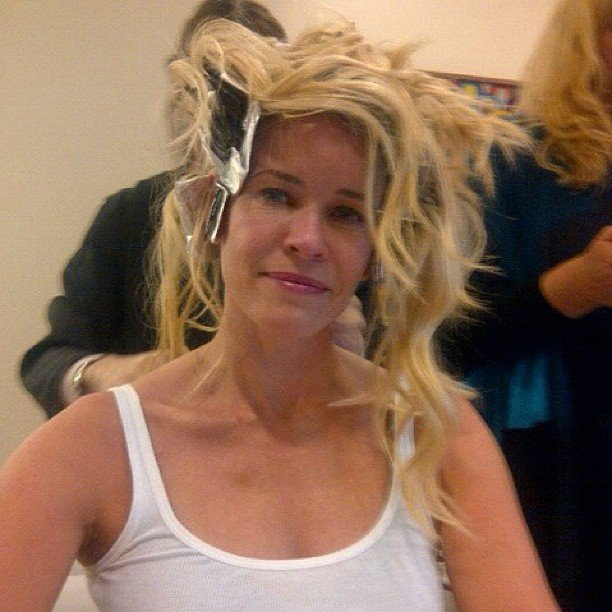 Chelsea Handler showed us what it really looks like before the cameras start rolling. Source: Instagram user chelseahandler
