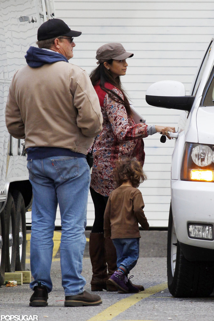 Camila Alves and Levi McConaughey visited the set together.