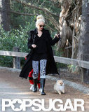 Gwen Stefani took her dog for a walk in an LA park.