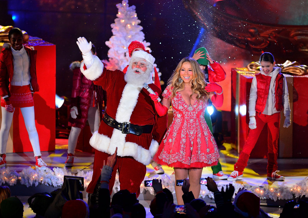 Mariah Carey had help from Santa while taping the Christmas tree lighting at Rockefeller Center in NYC.
