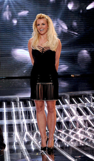 Britney Spears hit the stage in a black dress.