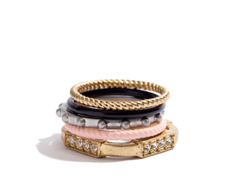 Costume jewelry is always a fun way to give your girlfriends the gift of flair, and this Madewell Colorwheel Ring Set ($28) is a serious stack version.