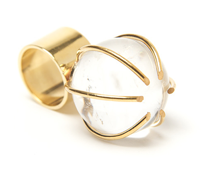 This Kelly Wearstler quartz cocktail ring ($345) is anything but a traditional cocktail ring. It has the most interesting architectural shape that makes it worth every penny.
