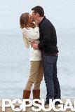 Emily VanCamp passionately kissed costar Barry Sloane on the set of Revenge.